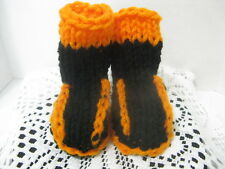 Infant Baby Booties (Black & Orange) Knitted ~ Bengals ~ **Gift Idea