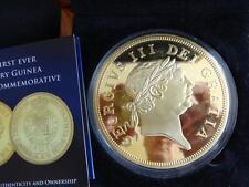 2013 BIG 88mm GOLD PLATED PROOF COIN BOX + COA 200th ANNI LAST GUINEA COIN