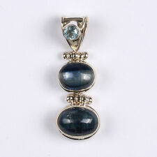 BLUE KYANITE 2-STONE OVAL PENDANT WITH AN AQUAMARINE ACCENT IN STERLING SILVER