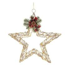 Christmas Gold Rattan Effect LED Open Star Wall Decoration