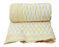 Indian Doctor Cotton Quilt Traditional Hand Block Print Reversible Coverlet Leaf