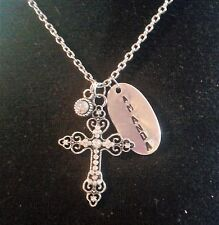 Personalized Hand Stamped Rhinestone Cross Name Necklace, Christian Jewelry