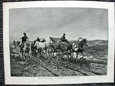 Tataren zum Jahrmarkt fahrend Pferdewagen HOLZSTICH von 1889 Törk-Tatar