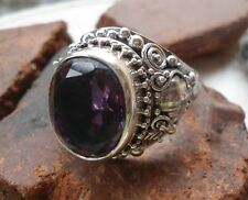 925 Sterling Silver-LH185-Balinese Handcrafted Large Ring Amethyst Stone Size 10