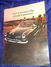 BG727 Vtg VW Volkswagen Karmann Ghia Dealer Sales Brochure 1970