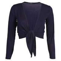 WOMENS TIE KNOT SHRUG SHORT LADIES CROP CARDIGAN WRAP BOLERO TOP PLUS SIZE 8-22
