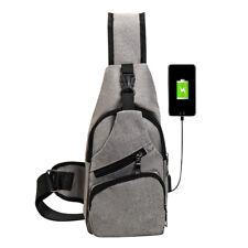 d9f377e0f Mochila lona pecho con bandolera exterior para hombres con puerto carga USB