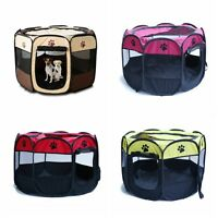 Oxford Pet Dog Cat Playpen Tent Portable Exercise Fence Indoor Kennel Cage Crate