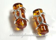 GENUINE cute Natural Baltic AMBER Cognac stone Earrings Stud Sterling Silver