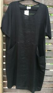 Black Front Pocket Linen Dress Short Sleeves NWT size XXL to fit 16-18