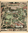 1860 Pictorial Map of Central Park NY New York Wall Poster Decor Antique Vintage