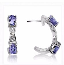 TANZANITE & DIAMOND .57 CWT EARRINGS NATURAL STONES SILVER /925 WHITE GOLD LOOK