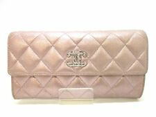 Auth CHANEL Chain Me A80002 MetallicPink Goatskin Long Wallet