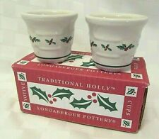 Longaberger Traditional Holly Pottery Set of 2 Christmas Votives #36064 New, Usa