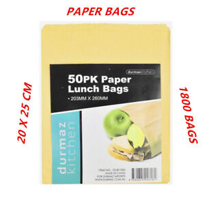 1800 X BROWN PAPER LUNCH FOLD BAGS PLAIN KRAFT TAKE AWAY FOOD GROCERY ECO SACK A