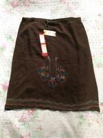 BNWT NAUGHTY Pure Silk Embroidered Skirt-size 14. Chocolate Brown