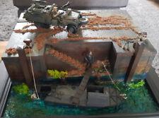 Diorama MTM barchinion BARCA CON SUPPORTO SAS JEEP 1:35 modello costruito sul lato Dock