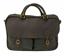Barbour Wax And Leather Briefcase Olive Green Bag Messenger One Size