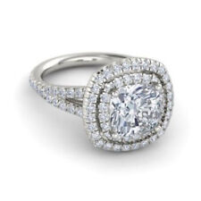 2.50 Ct Cushion VVS1 Diamond Engagement Rings 9K Solid White Gold Size N