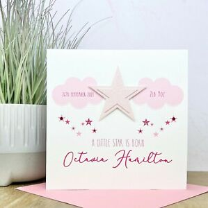 Personalised Handmade New Baby Girl Card