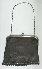 Vintage 1920s Silver Plate Mesh Cocktail Purse Evening Bag Paisley Lining