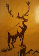 Russian Deer Mountain Top Vtg Soviet Painting Carving Wood Picture USSR 1970s