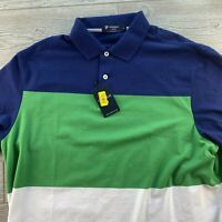 Cremieux Classics Short Sleeve Polo Shirt  XL Striped Green Blue New NWT Summer