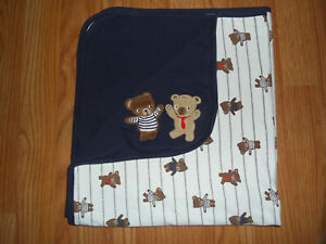 Gymboree Bear Buddies Reversible Blanket Navy Blue Striped Appliqué