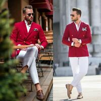 Red Men's 2 Pcs Suit Slim White Pants Formal Double Breasted 40 42 44 46+ Custom