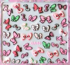 Nail Art Stickers Decals Neon Bows 3D Nail art bows -  NEW (GA40)