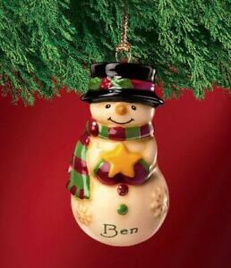 Christmas BOY'S NAMES Ceramic Snowman Tree Hanging Decoration Personalised BNWT
