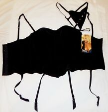 Shirley of Hollywood Black Boostier Corset Top and G-String 32 NWT Sexy Teddy