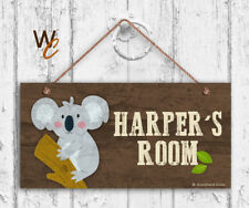 Koala Sign, Woodland Personalized Sign, Kid's Name, Kids Door Sign, 5x10 Sign