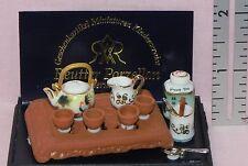 Dollhouse Miniature Tea Set with Tray Oriental Reutter Porcelain Minis