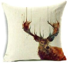 REINDEER CUSHION COVER Black Cream Green Blue Red Aqua Brown Purple STAG XMAS 17