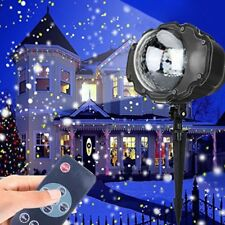 UK Snow Falling LED Moving Laser Projector Light Christmas Night Lamp Xmas Decor