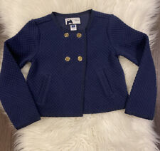 $59 Janie and Jack Bloom Town Girls 3 4-5 Navy Jacquard Jacket Coat Gold EUC HTF