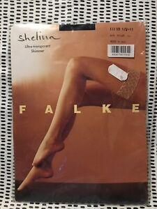FALKE Shelina Stockings Hold Up 12 Den Black Large 10.5-11 Sealed Pack Shimmer