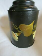 1800s ANTIQUE ORIGINAL SIGNED TOLE WARE HAND PAINTED TIN TEA CADDY WITH LID