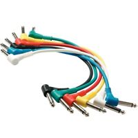 "Perfektion 6-Pack Colored 1/4"" TS 1' Ft Patch Cables for Guitar Pedals, PM616"