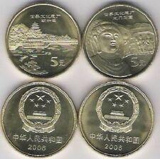 China 5 Yuan 2006 2 coins Chinese World Heritage Palace Mountain Longmen UNC