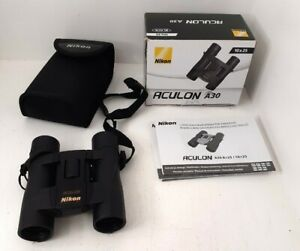 Nikon Aculon A30 10 x 25 Binoculars Case Boxed Black Untested Pre-owned