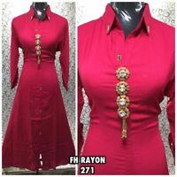 """44"""" XL Rayon Kurti Kurtis Top Tunic Kaftan Indian Bollywood Cotton Red MaroonA48"""