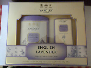 ENGLISH LAVENDER by YARDLEY PERFUMED TALC AND LUXURY SOAP NEW IN BOX VERY NICE