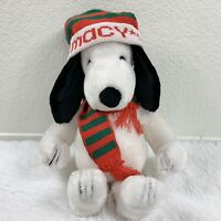 Vintage Macy's Large Peanuts Snoopy Dog Plush Christmas Winter Holiday