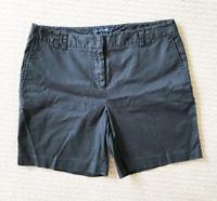 Sportscraft Cotton Black Women's Chino Casual Shorts Pockets Size 12 Button