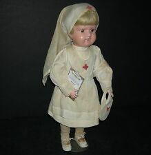 "Schoenhut Nurse - 16"" - Original Clothes, Shoes & Stand! - Orig Nailed On Wig!"