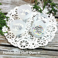 24 Clear One Half Ounce Plastic Cosmetic Herb Jars Screw Lids Container 3803 USA