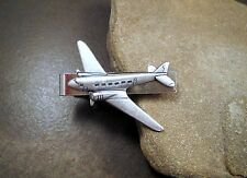 Handmade Silver Brass Steampunk Airplane Tie Bar Clip