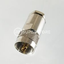UHF Male Connector Clamp Attachment Coax RG8, RG9, RG213, Nickel Plating